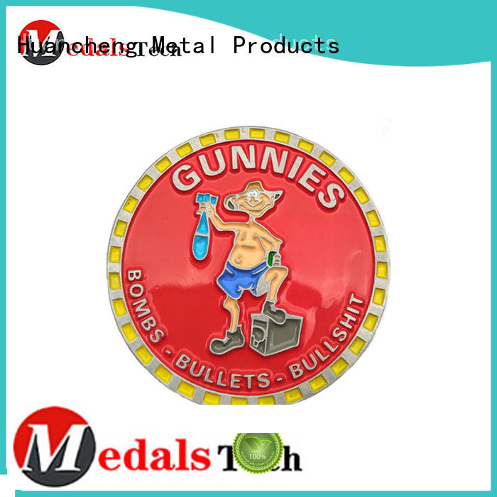 soft enamel metal challenge coin silkscreen printing Huancheng company