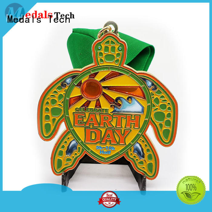 Personalized tortoise shape multi color filled gold plating theme sport medal