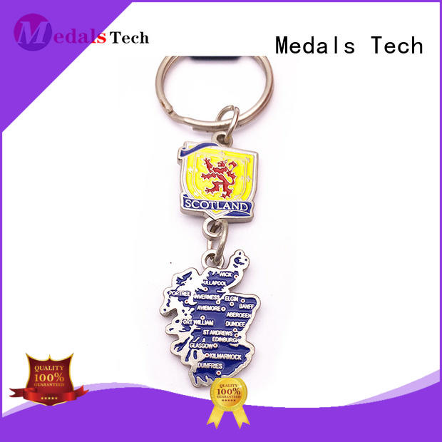 Medals Tech gold leather keychain from China for adults