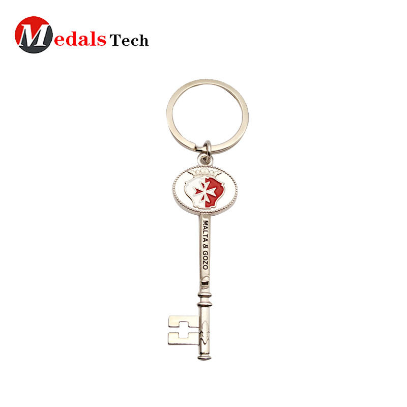 Shiny silver custom metal key shape keychain for promotion