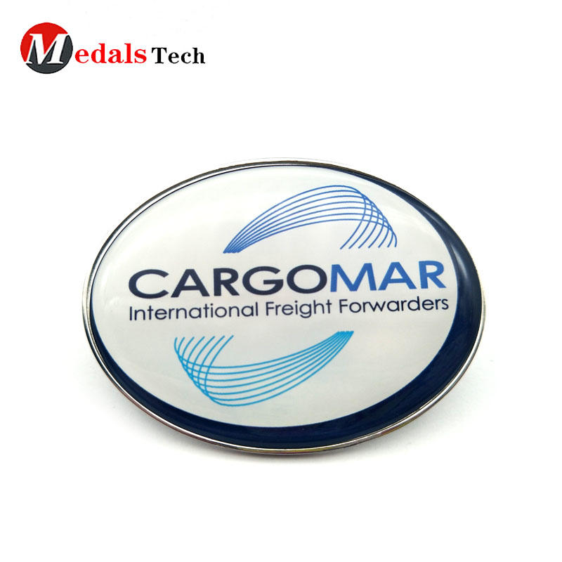Quality custom metal nameplate with printed logo and epoxy domed