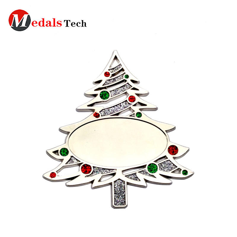 Custom metal novelty Christmas tree tag with glitter