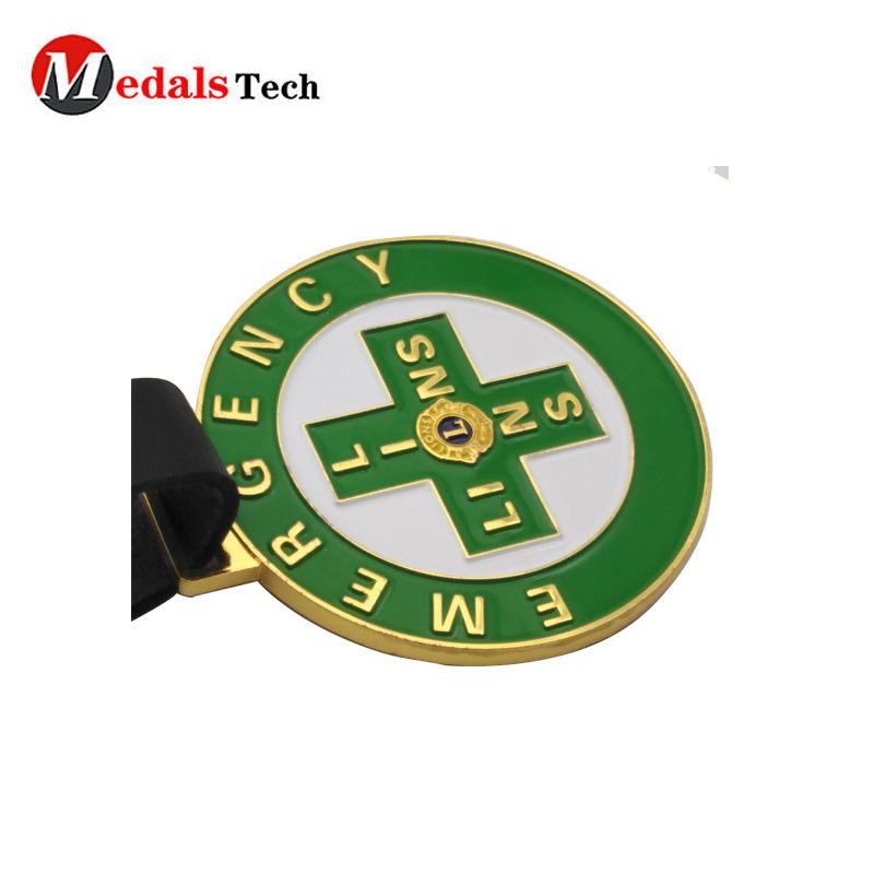 Round shape metal custom golf bag tag with leather strap