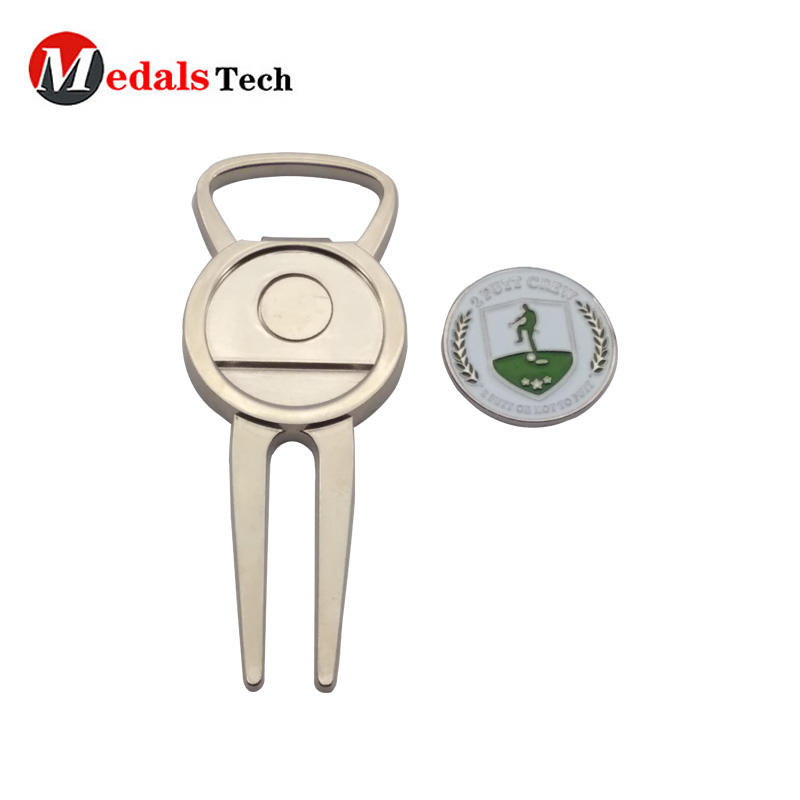Metal Custom quality golf divot tool bottle opener for promotion