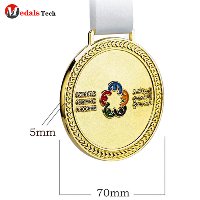Customized gold plated school sport medal race medal