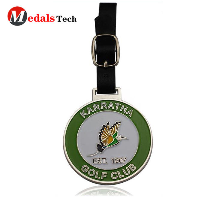 Cheap custom silver plated soft enamel metal golf bag tag