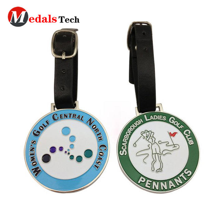 Personalized design custom sand blast color filled metal golf bag tag