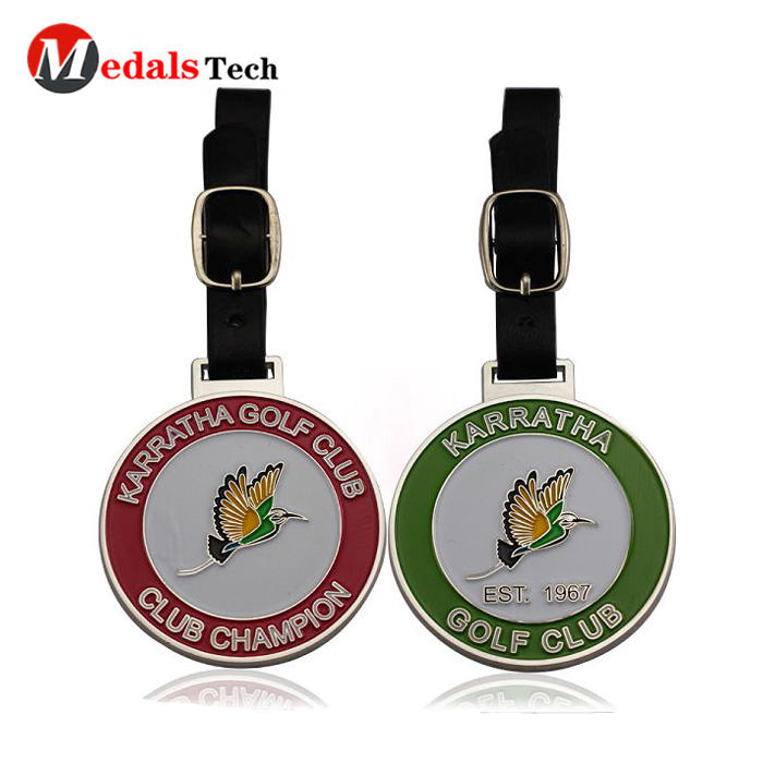 Factory price custom  color filled metal embossed logo golf bag tag