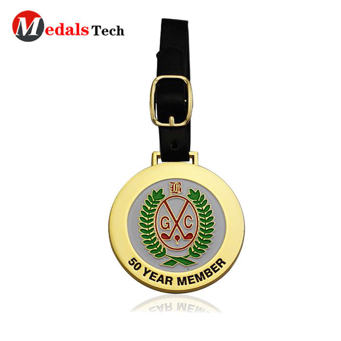 Promotional custom shinny gold golf member bag tag with leather belt
