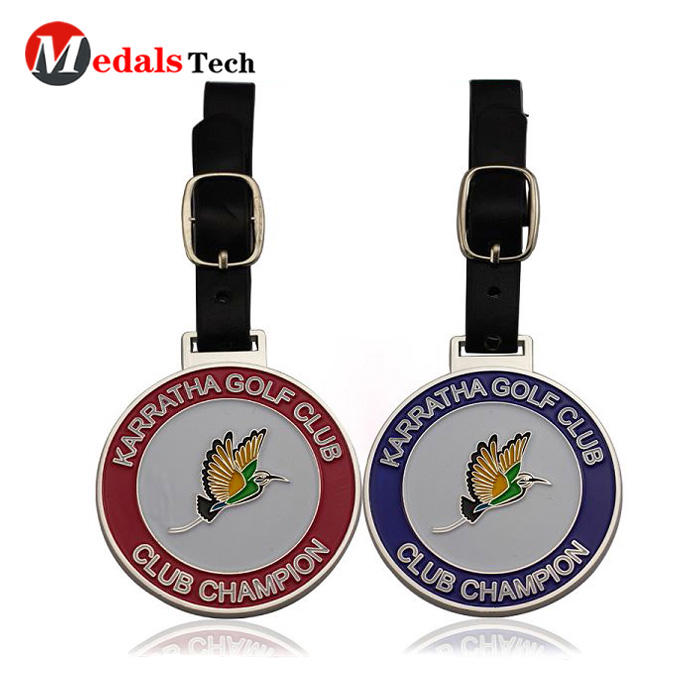 Promotional silver plated soft enamel embossed golf bag tag