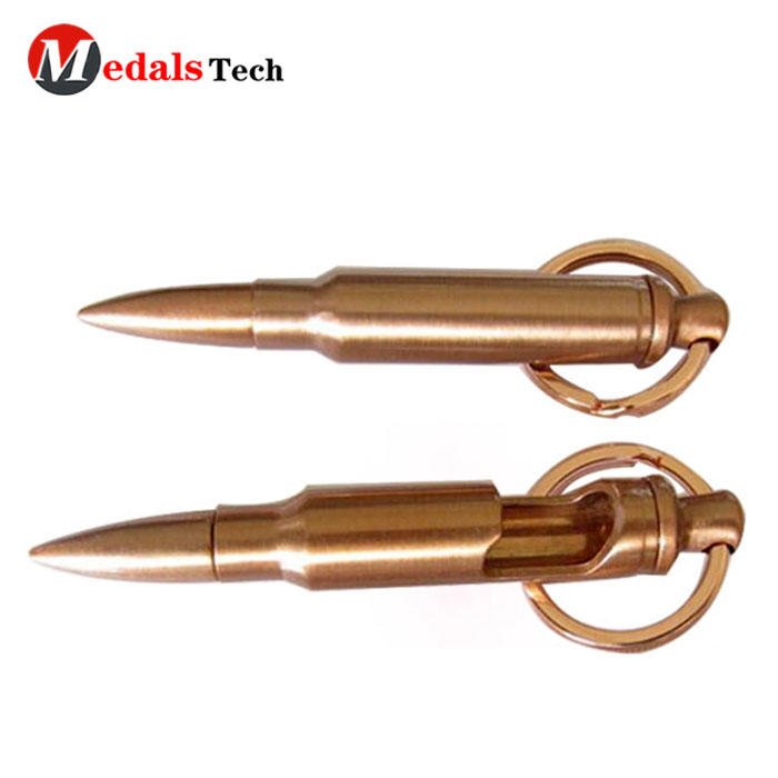 High quality metal antique gold plated bullet keychain