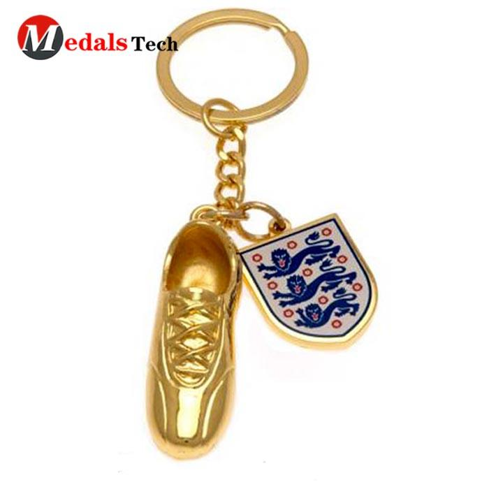 Promotional custom shinny gold plated 3d sneaker keychain