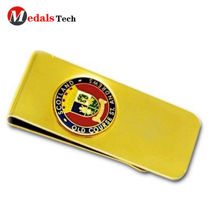 Factory price custom metal souvenir gold plating money clip