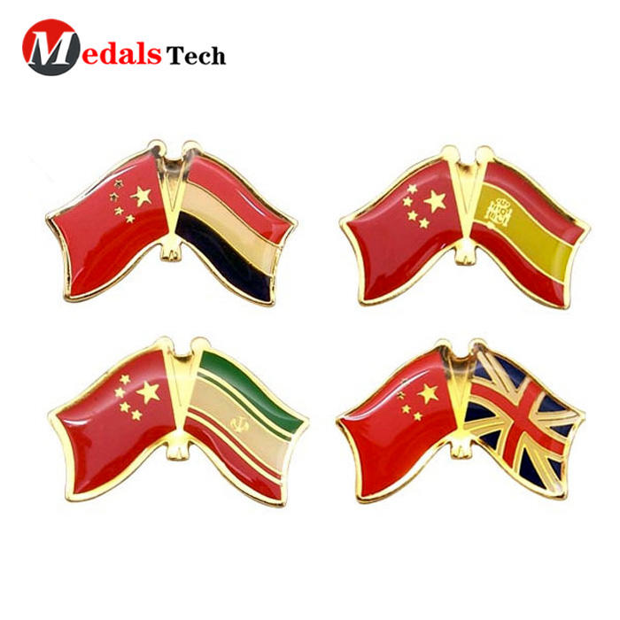 High quality national flag metal epoxy coated sticker lapel pin