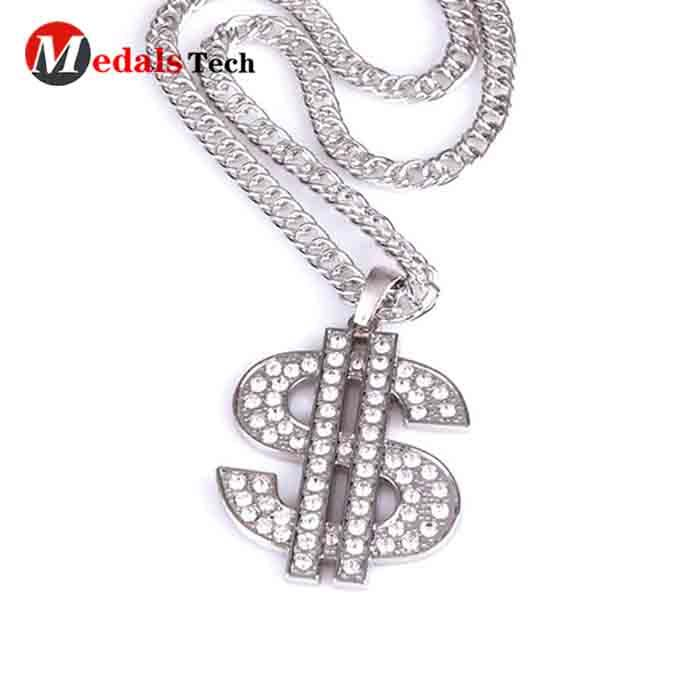Custom fashion zinc alloy shinny silver rhinestone dog tag