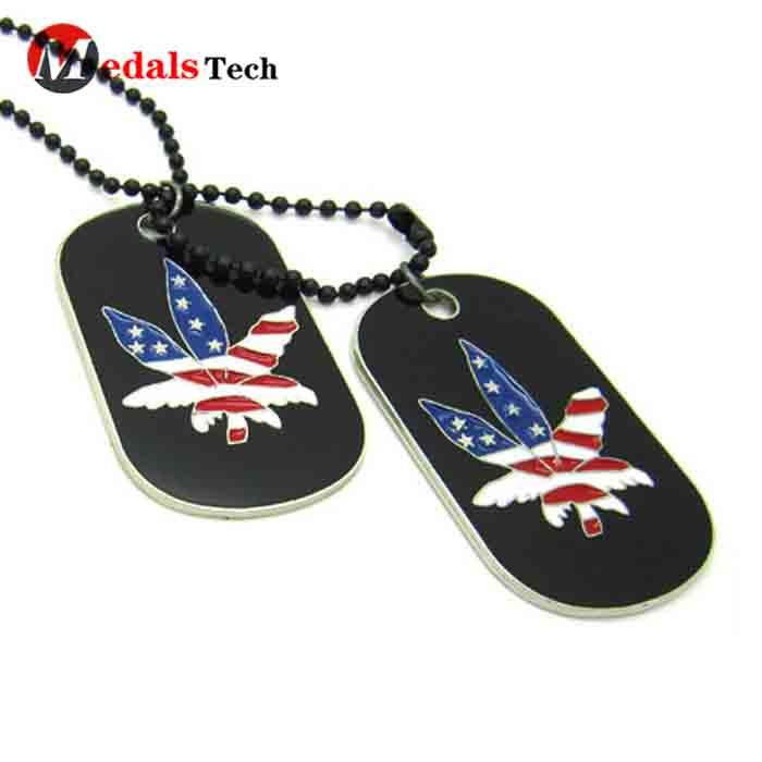 Factory price soft enamel custom metal army dog tag with ball chain