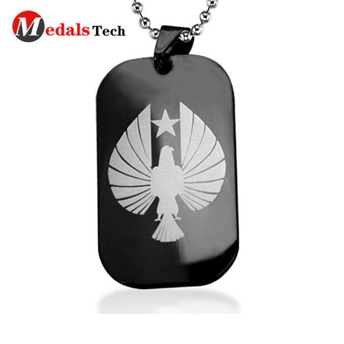 Wholesale fashion black plating epoxy coated metal sport  dog tag