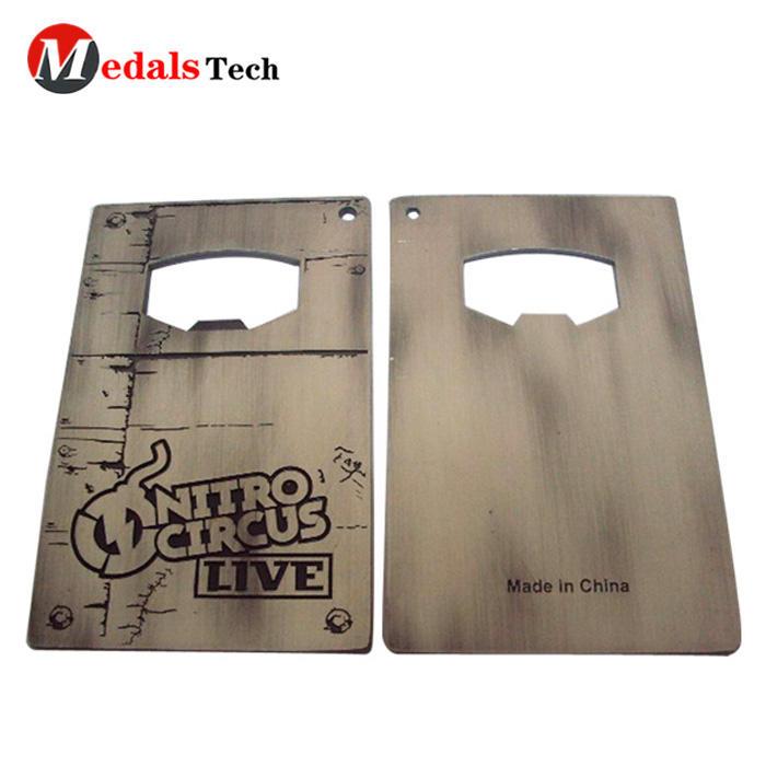 Low price custom card metal laser engraved silver plated bottle opener