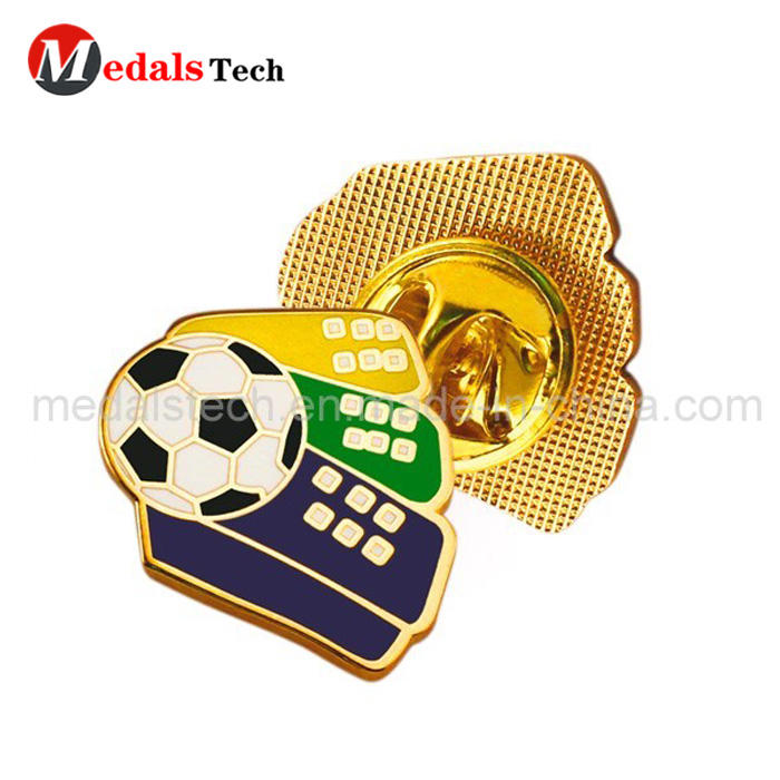 Cheap custom metal football soft enamel lapel pin