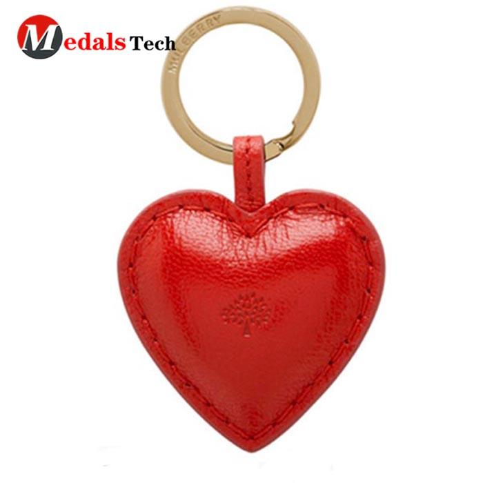 Factory direct sale metal leather heart shape custom keychain