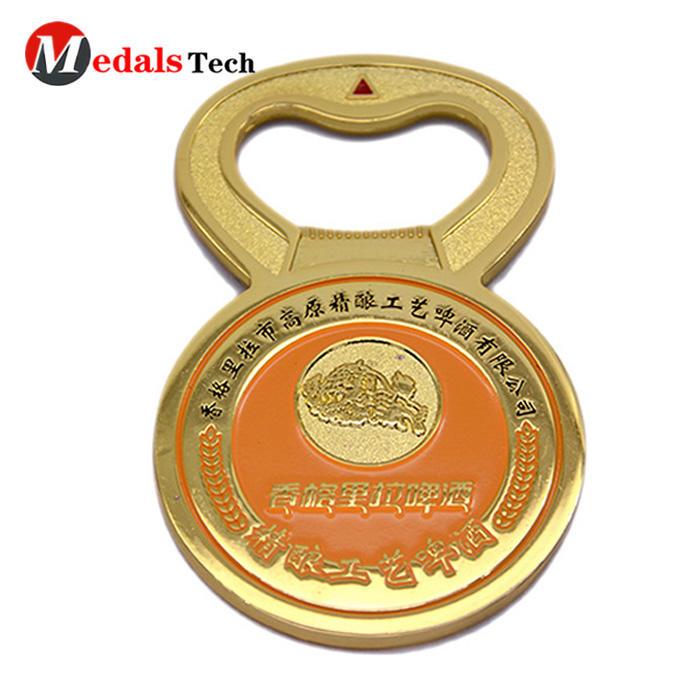 Factory price gold plating bar sandblast metal bottle opener