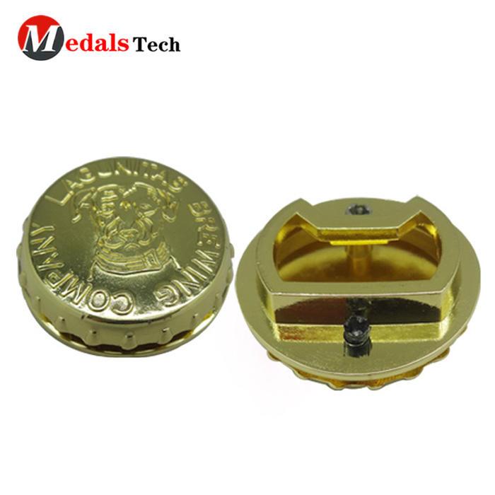Promotional cheap cap metal gold embossed logo bottle opener