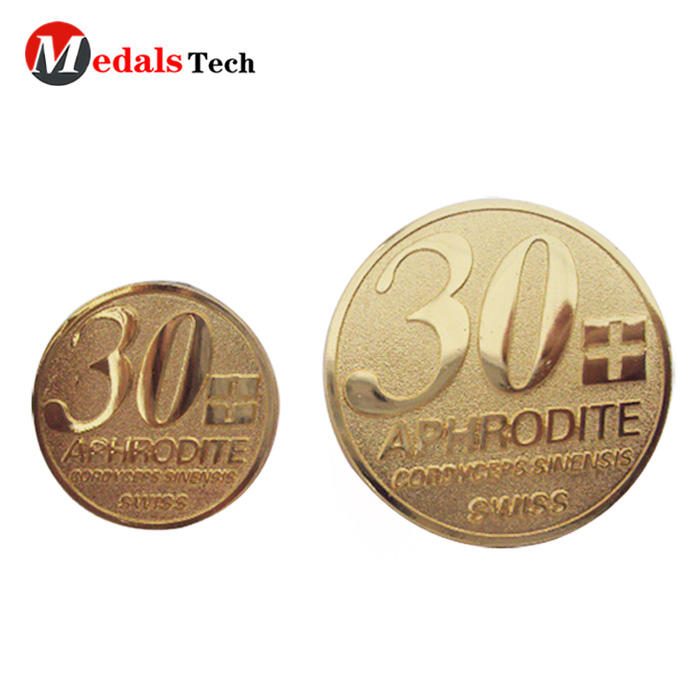 Factory price metal gold plating round shape nameplate for clothes