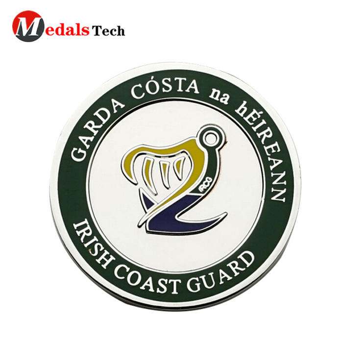 Wholesale custom shinny silver plating soft enamel challenge coins