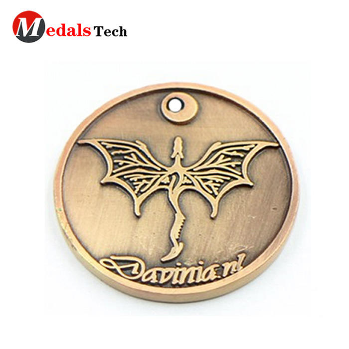 Promotional  embossed logo antique gold zinc alloy challenge coins
