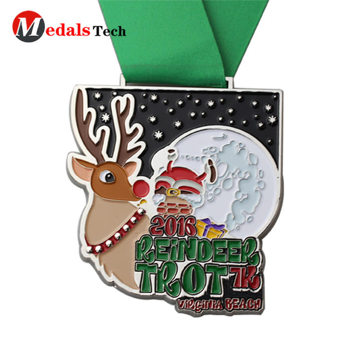 New fashion christmas style souvenir medal with sublimation ribbon