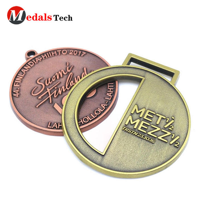 No minimum order hollow out running sport antique plated medal