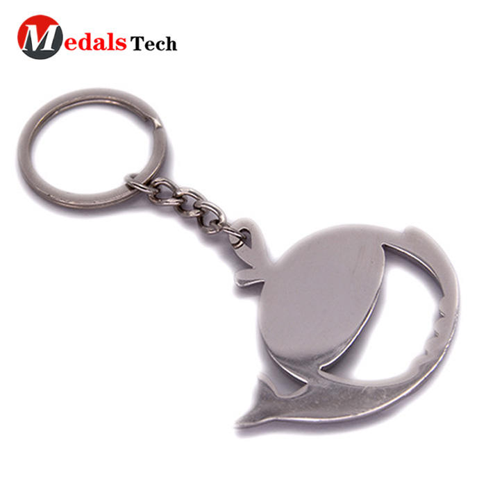 High quality fish shape shinny silver plated keychain bottle opener