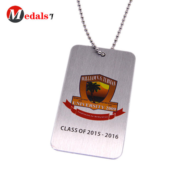 Wholesale custom stainless steel laser logo dog tag with ball chain
