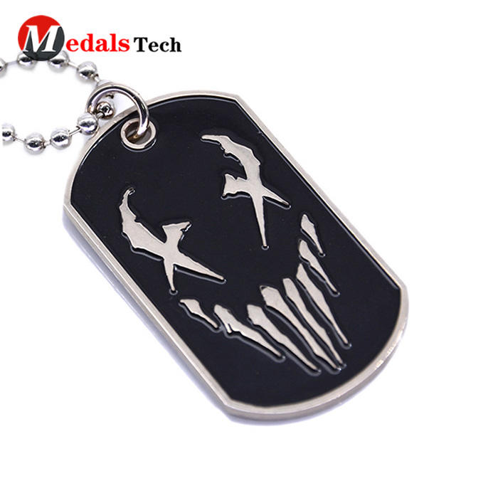 Cheap custom metal embossed logo soft enamel dog tag