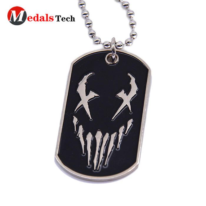 Cheap custom metal embossed logo soft enamel dog tag
