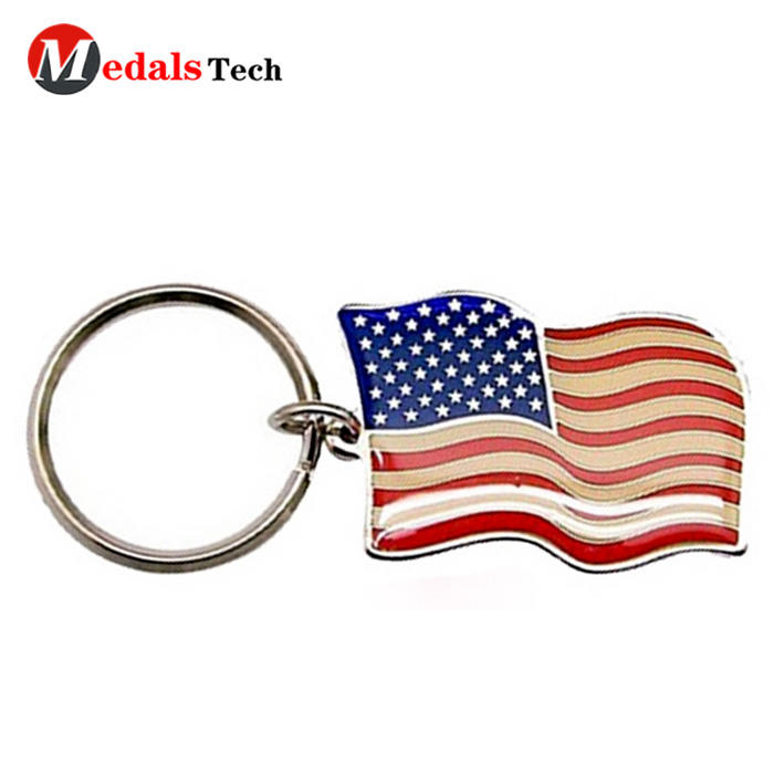 No minimum order usa natioanl metal  flag epoxy coated keychain