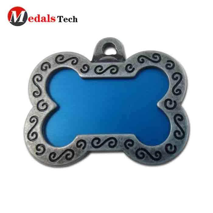 Promotional metal custom blank color filled pet dog tag