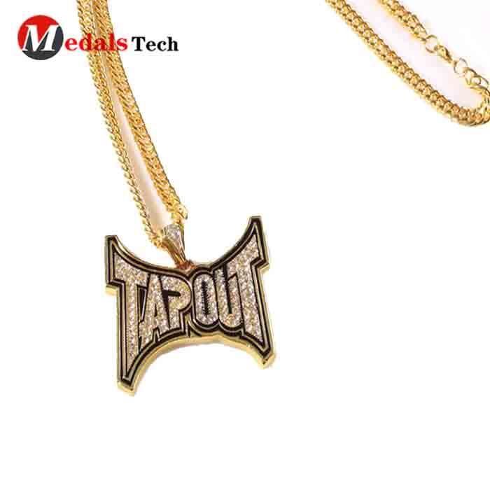 Cheap popular metal die casting shinny gold plating recessed logo dog tag