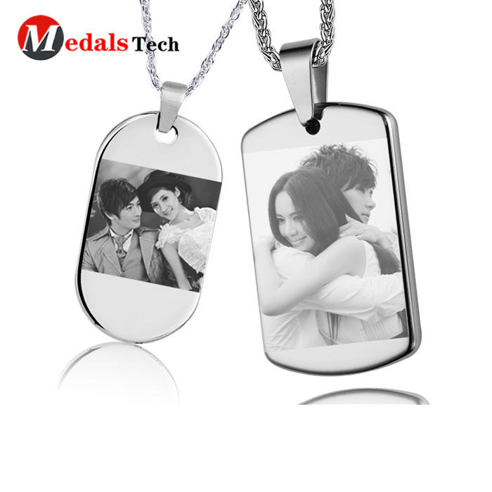 China factory shinny silver plating photo blank souvenir metal dog tag