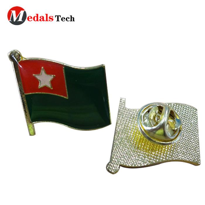 Wholesale custom metal national flag soft enamel sandblast lapel pin