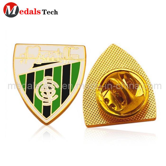 China factory custom soccer metal shinny gold plating souvenir lapel pin