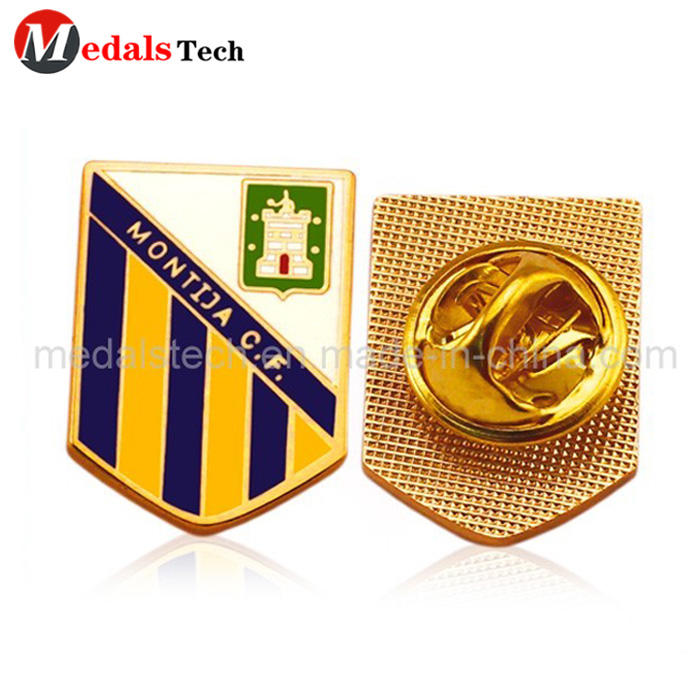 China factory custom soccer metal shinny gold plating souvenir lapel pin