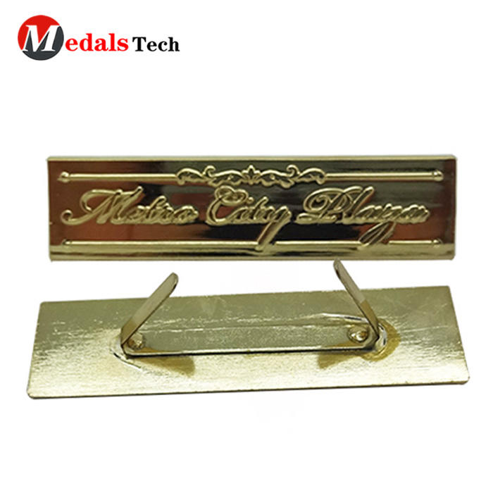 Metal Nameplate Custom Embossed Logo Shiny Gold Plating