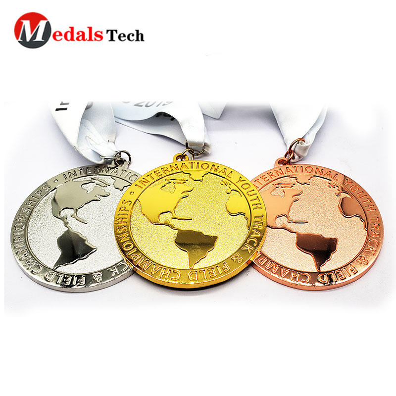 Wholesale fashion earth shape black nickle  running finisher medal