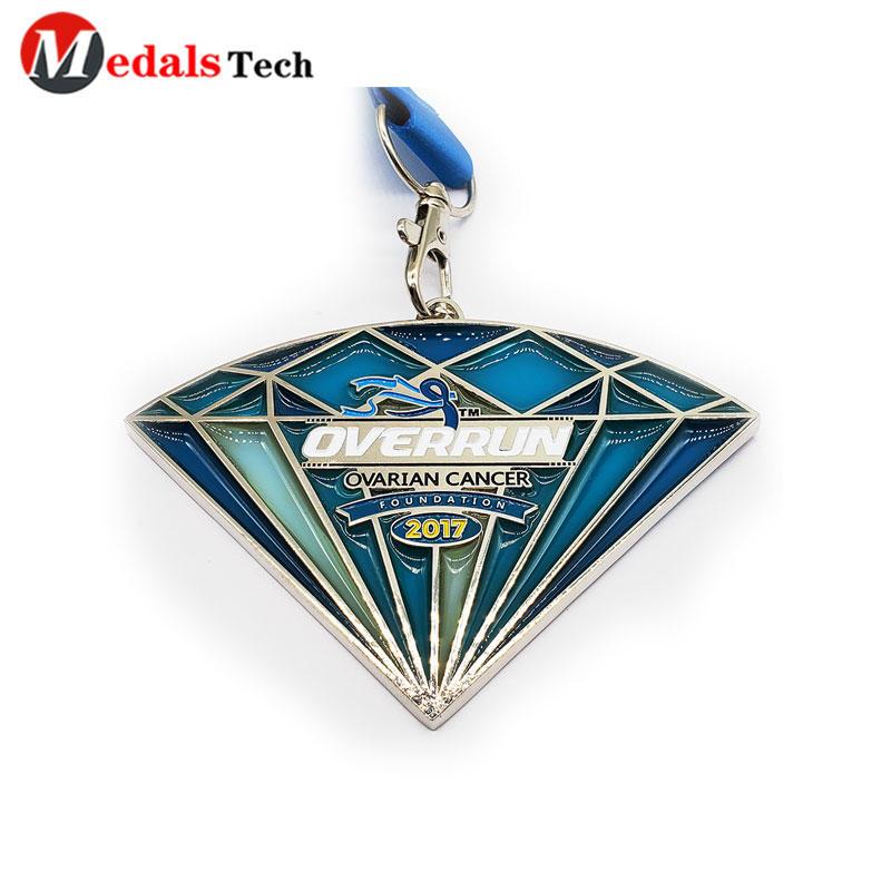 Silver  Medal Transparent Enamel Shinny With Dog Hook