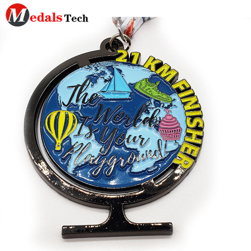 Sports Medals Earth Shape Black Nickel Running Finisher Medal