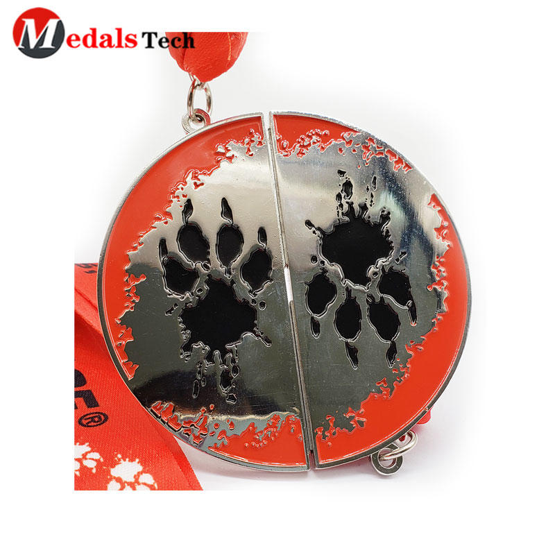 Custom Double Side Metal Medal Magnet Silver Plating