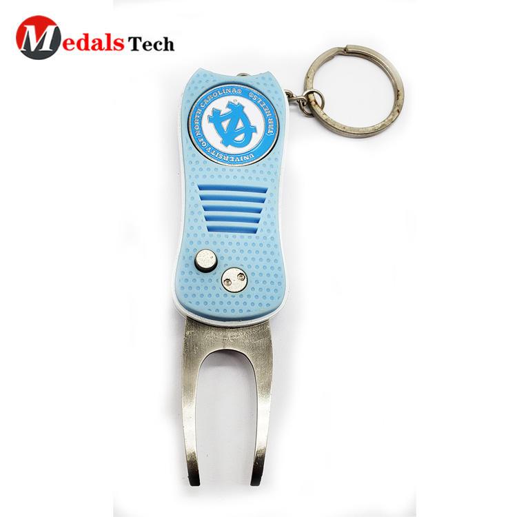 Custom Golf Divot Repair Tool Pvc Folding Pocket with Keychain