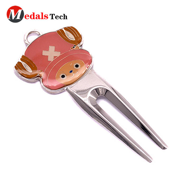 Cartoon Golf Divot Tool silver Plating Zinc Alloy with Epoxy Coated