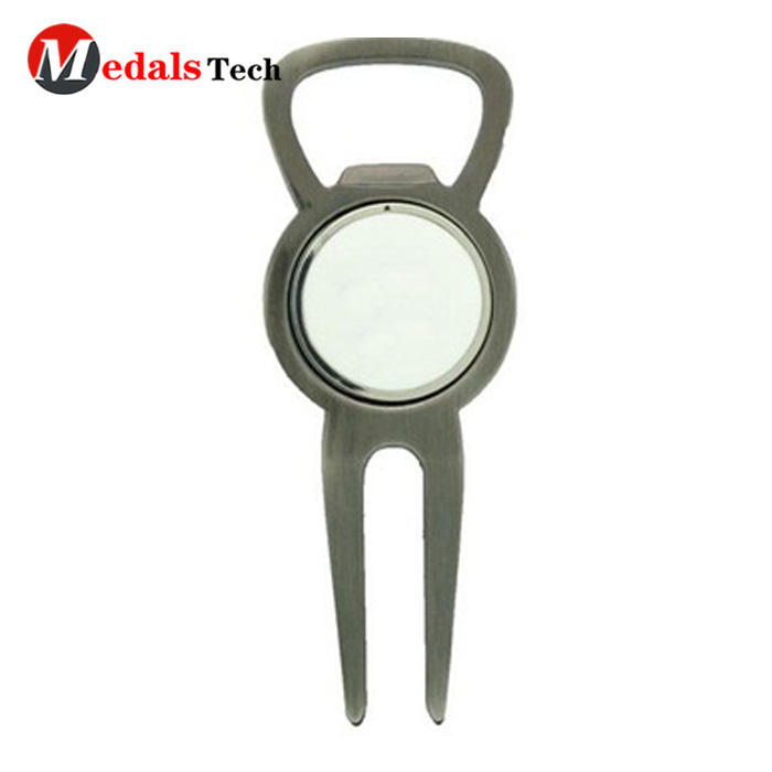 Club Golf Divot Tool Silver Plating with Bottle Opener
